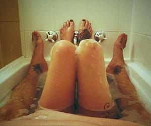 love, couple, and bath image