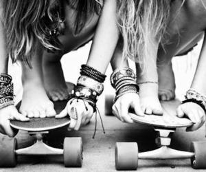 best friends, girls, and longboard image
