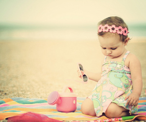 baby, cute, and beach image