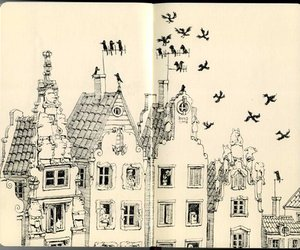 house, illustration, and moleskine image