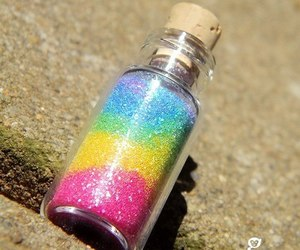 rainbow, bottle, and colorful image