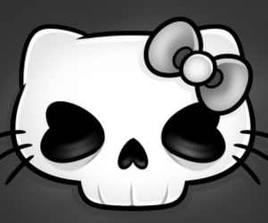 bow, hello kitty, and skull image