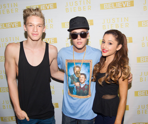 justin bieber, ariana grande, and cody simpson image