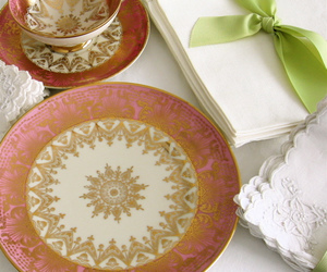dishes, gold, and linens image