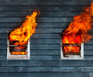 fire, house, and window image