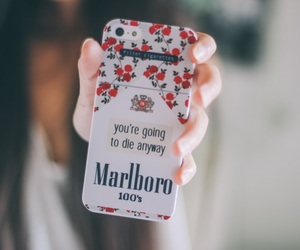 marlboro, iphone, and smoke image