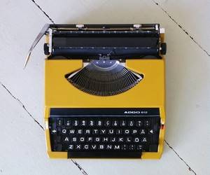 typewriter, writing, and yellow image