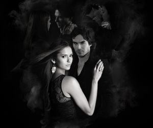 ian somerhalder, Nina Dobrev, and damon salvatore image