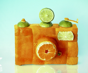 camera, orange, and fruit image