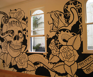art, room, and skull image