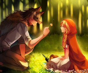 anime, wolf, and flowers image