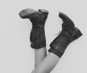 b&w, boots, and girly image