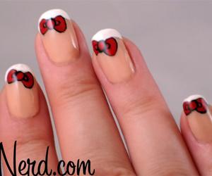 bows, nail art, and nail polish image