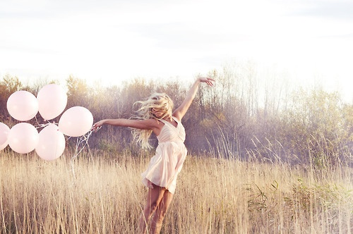 girl, balloons, and pink image