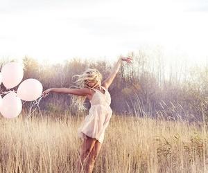 girl, balloons, and pink image