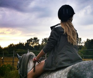 blonde, girl, and horse image