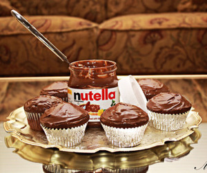 nutella, chocolate, and cupcake image
