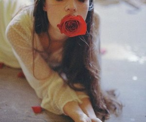 girl and red rose image
