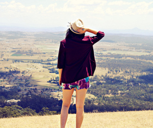 girl, hat, and view image