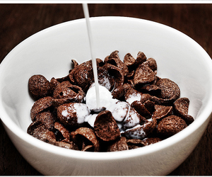 food, milk, and cereal image