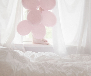 balloon, bed, and bedroom image