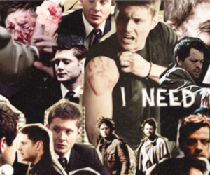 dean winchester, hug, and misha collins image