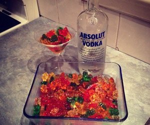 alcohol, gummy bears, and love image