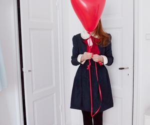 balloon, heart, and girl image