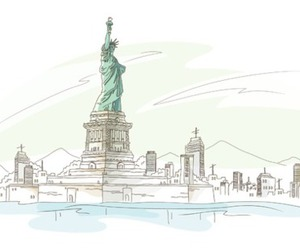 illustration, ny, and the statue of liberty image