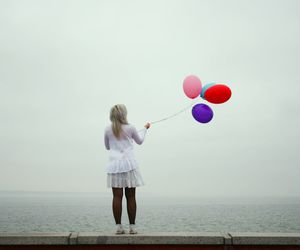 balloons, pink, and fog image