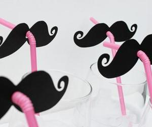 mustache, moustache, and pink image
