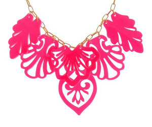 statement necklace, pink necklace, and prom jewelry image