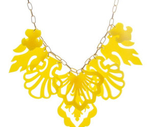 statement necklace, prom jewelry, and yellow necklace image