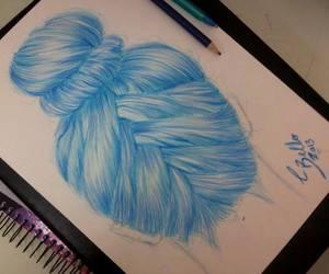 art, blue hair, and bun image