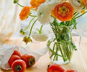 flowers, fruit, and orange image