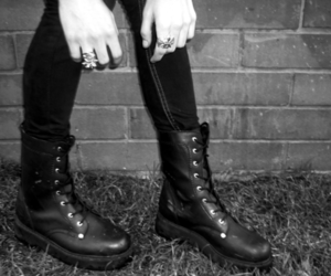 boots, black and white, and buskin image