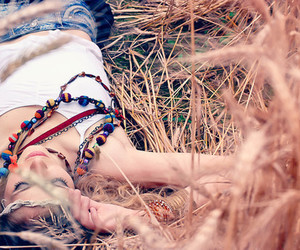girl, nature, and necklace image