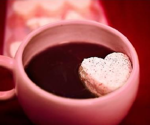 pink, heart, and coffee image