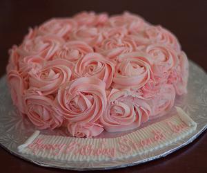 cake, rose, and pink image