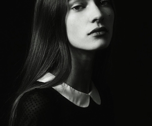 black and white, face, and fashion image