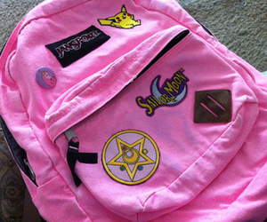 pink, backpack, and pale image