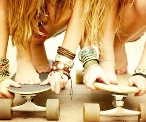 hipster, longboarding, and friends image