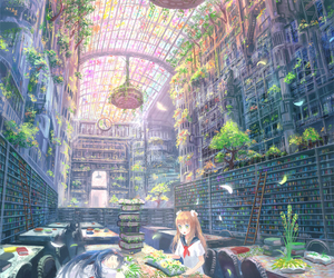anime, library, and book image