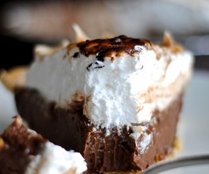 chocolate, pie, and marshmallow image