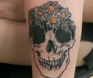 tattoo, flowers, and skull image