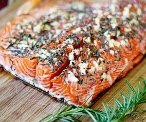 food, salmon, and fish image