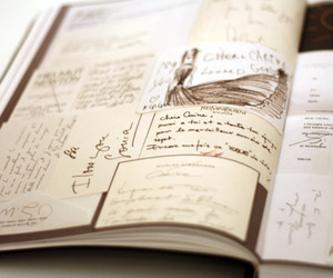 book, notes, and drawing image