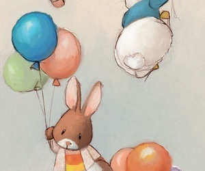 bunny, cute, and balloons image