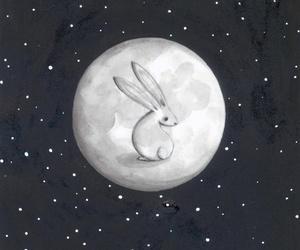 rabbit, bunny, and moon image