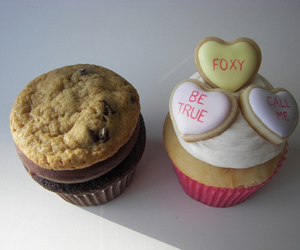 cupcake, cookie, and hearts image